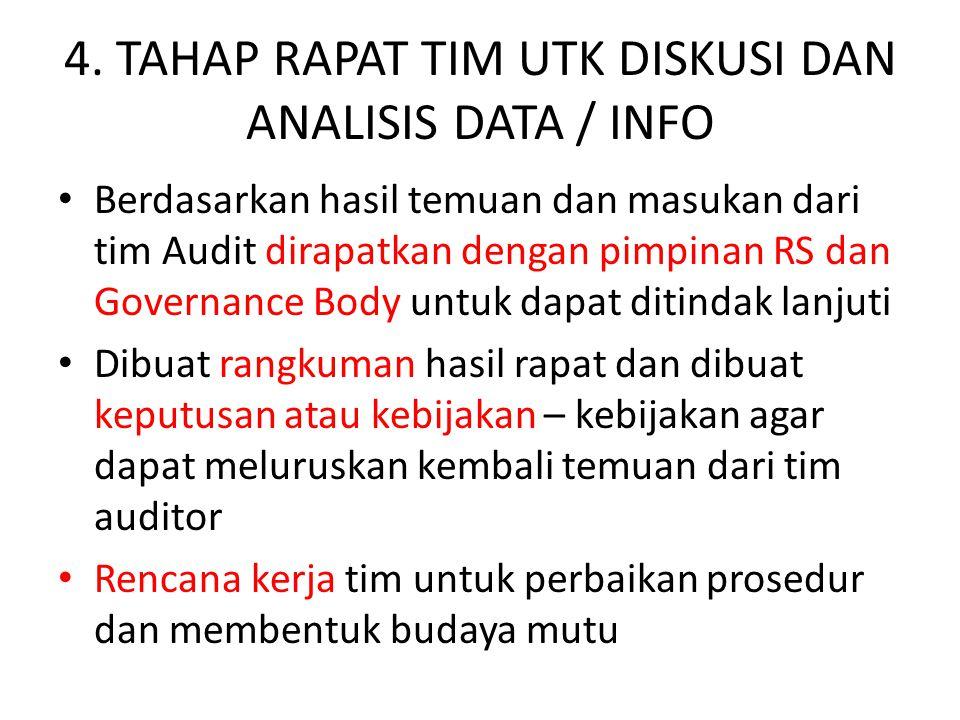 4. TAHAP RAPAT TIM UTK DISKUSI DAN ANALISIS DATA / INFO Berdasarkan hasil temuan dan masukan dari tim Audit dirapatkan dengan pimpinan RS dan Governan