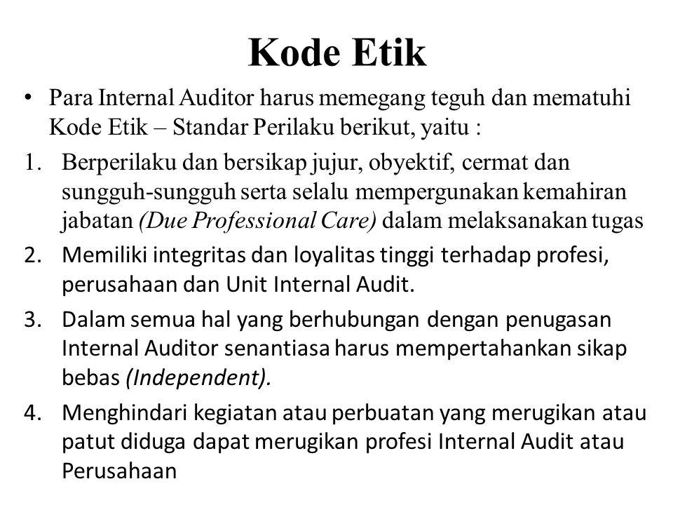 Kode Etik Para Internal Auditor harus memegang teguh dan mematuhi Kode Etik – Standar Perilaku berikut, yaitu : 1.Berperilaku dan bersikap jujur, obye