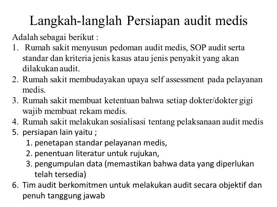 Langkah-langlah Persiapan audit medis Adalah sebagai berikut : 1. Rumah sakit menyusun pedoman audit medis, SOP audit serta standar dan kriteria jenis