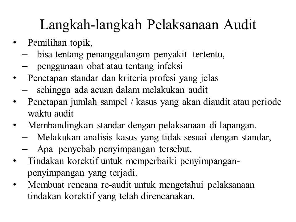 Langkah-langkah Pelaksanaan Audit Pemilihan topik, – bisa tentang penanggulangan penyakit tertentu, – penggunaan obat atau tentang infeksi Penetapan s