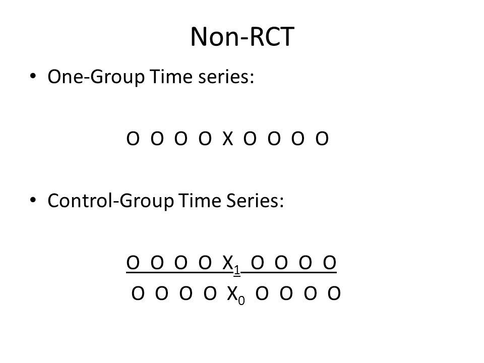 Non-RCT One-Group Time series: O O O O X O O O O Control-Group Time Series: O O O O X 1 O O O O O O O O X 0 O O O O