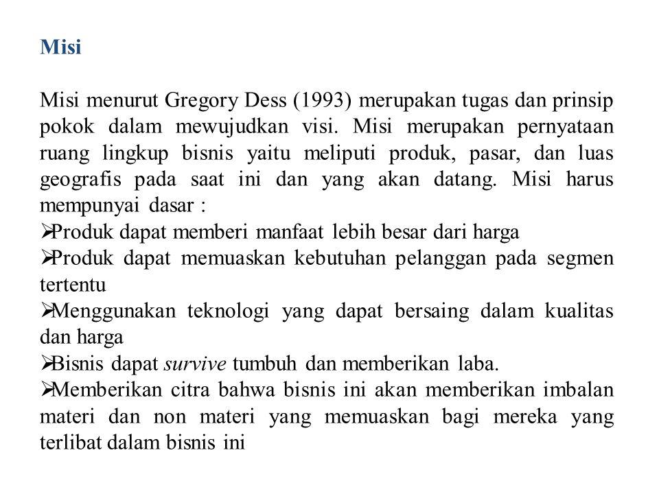Misi Misi menurut Gregory Dess (1993) merupakan tugas dan prinsip pokok dalam mewujudkan visi. Misi merupakan pernyataan ruang lingkup bisnis yaitu me