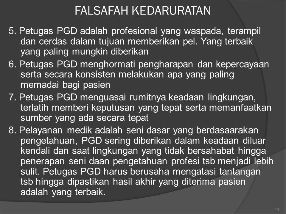 FALSAFAH KEDARURATAN 5. Petugas PGD adalah profesional yang waspada, terampil dan cerdas dalam tujuan memberikan pel. Yang terbaik yang paling mungkin