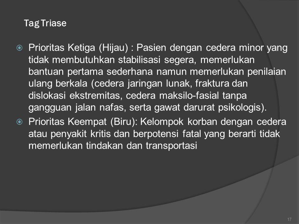 Tag Triase  Prioritas Ketiga (Hijau) : Pasien dengan cedera minor yang tidak membutuhkan stabilisasi segera, memerlukan bantuan pertama sederhana nam