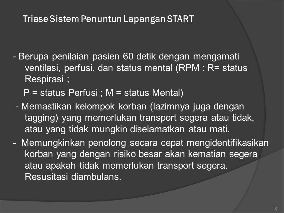 Triase Sistem Penuntun Lapangan START - Berupa penilaian pasien 60 detik dengan mengamati ventilasi, perfusi, dan status mental (RPM : R= status Respi