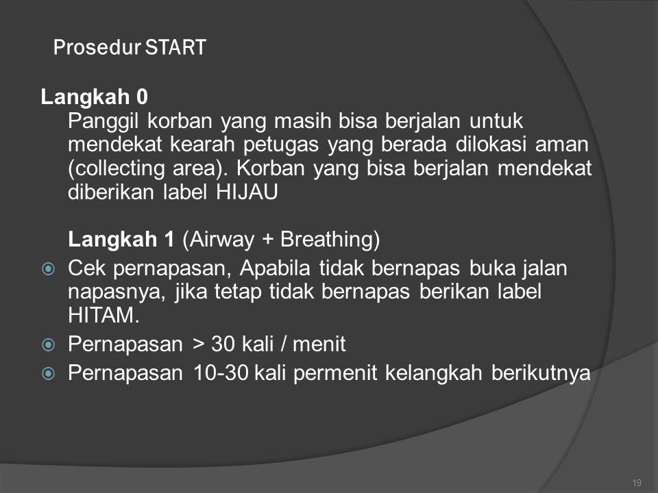 Prosedur START Langkah 0 Panggil korban yang masih bisa berjalan untuk mendekat kearah petugas yang berada dilokasi aman (collecting area). Korban yan