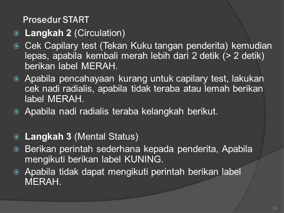 Prosedur START  Langkah 2 (Circulation)  Cek Capilary test (Tekan Kuku tangan penderita) kemudian lepas, apabila kembali merah lebih dari 2 detik (>