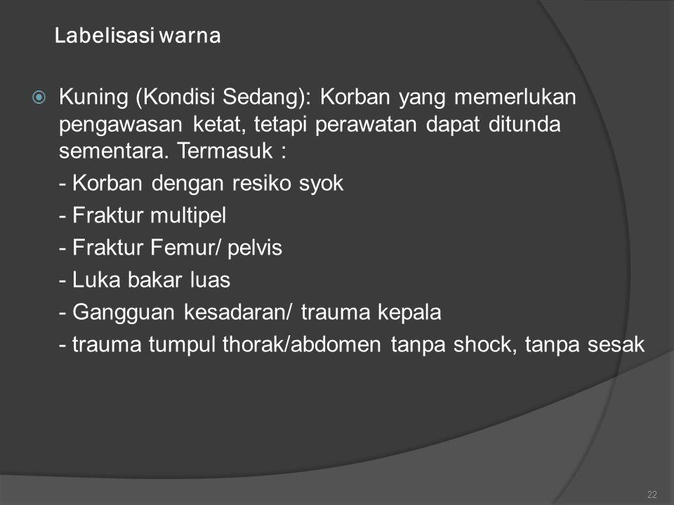 Labelisasi warna  Kuning (Kondisi Sedang): Korban yang memerlukan pengawasan ketat, tetapi perawatan dapat ditunda sementara. Termasuk : - Korban den