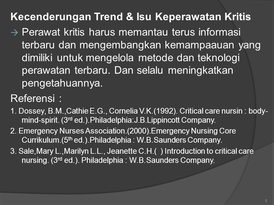 Kecenderungan Trend & Isu Keperawatan Kritis  Perawat kritis harus memantau terus informasi terbaru dan mengembangkan kemampaauan yang dimiliki untuk mengelola metode dan teknologi perawatan terbaru.