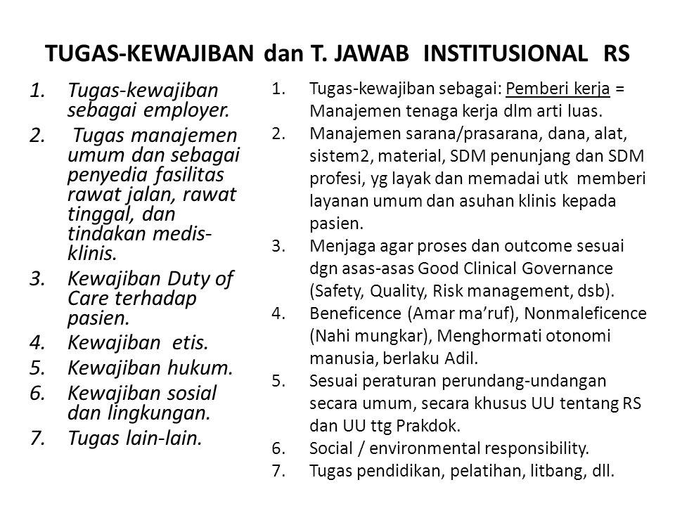 TUGAS-KEWAJIBAN dan T. JAWAB INSTITUSIONAL RS 1.Tugas-kewajiban sebagai employer. 2. Tugas manajemen umum dan sebagai penyedia fasilitas rawat jalan,