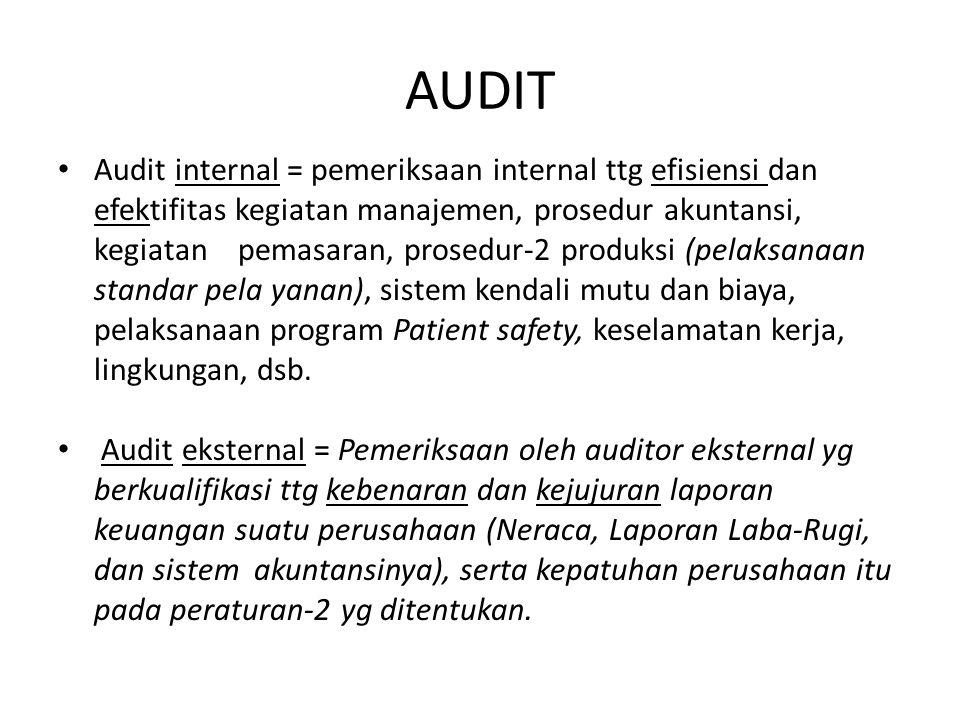 AUDIT Audit internal = pemeriksaan internal ttg efisiensi dan efektifitas kegiatan manajemen, prosedur akuntansi, kegiatan pemasaran, prosedur-2 produ