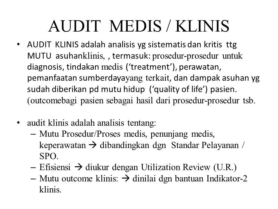 AUDIT MEDIS / KLINIS AUDIT KLINIS adalah analisis yg sistematis dan kritis ttg MUTU asuhan klinis,, termasuk: prosedur-prosedur untuk diagnosis, tinda