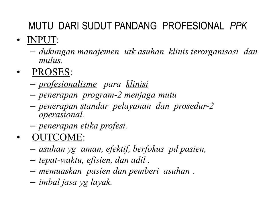 MUTU DARI SUDUT PANDANG PROFESIONAL PPK INPUT:INPUT: – dukungan manajemen utk asuhan klinis terorganisasi dan mulus. PROSES: PROSES: – profesionalisme