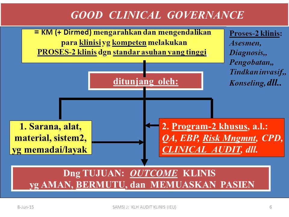 ASAS-2 TTG PELAKSANAAN AUDIT MEDIS/KLINIS Yang diaudit adalah tentang MUTU pelayanan medis/klinis, khususnya tentang aspek-2: Proses yg sudah dilaksanakan pada pasien, dan Outcome sebagai hasil proses yang dilaksanakan.