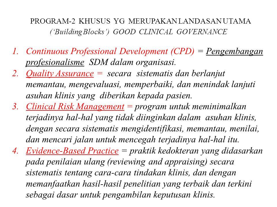 PROGRAM-2 KHUSUS YG MERUPAKAN LANDASAN UTAMA ('Building Blocks') GOOD CLINICAL GOVERNANCE 1.Continuous Professional Development (CPD) = Pengembangan p