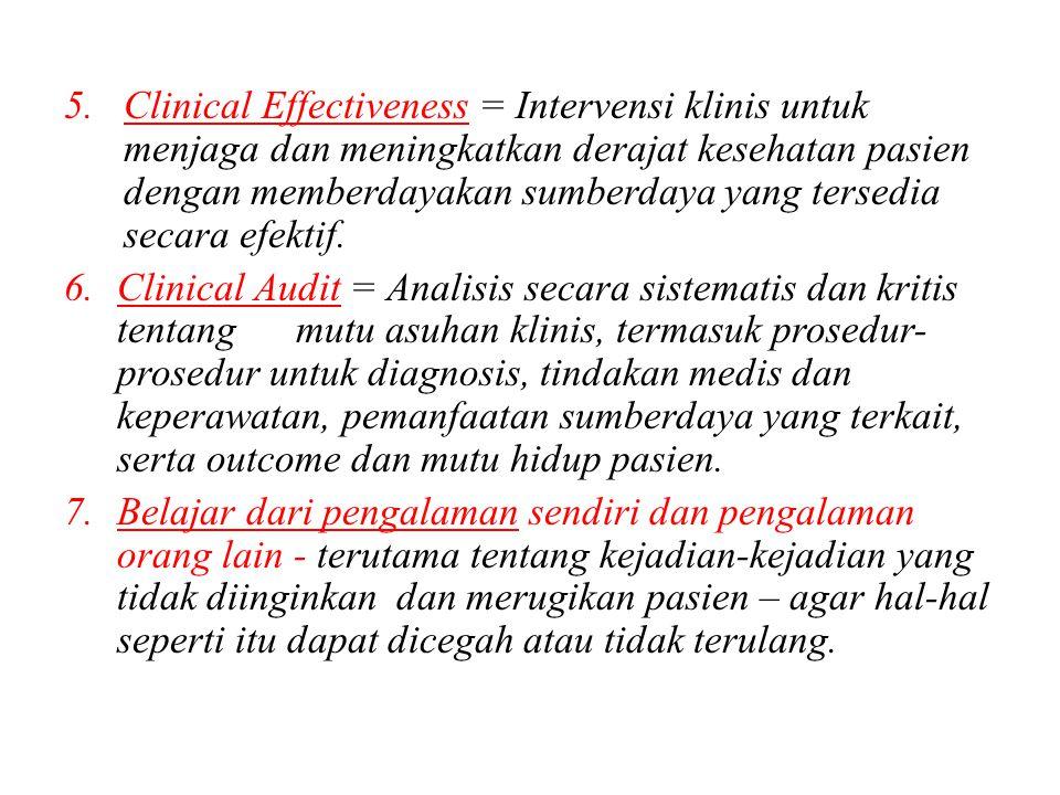 5.Clinical Effectiveness = Intervensi klinis untuk menjaga dan meningkatkan derajat kesehatan pasien dengan memberdayakan sumberdaya yang tersedia sec