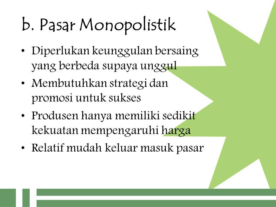 b. Pasar Monopolistik Diperlukan keunggulan bersaing yang berbeda supaya unggul Membutuhkan strategi dan promosi untuk sukses Produsen hanya memiliki