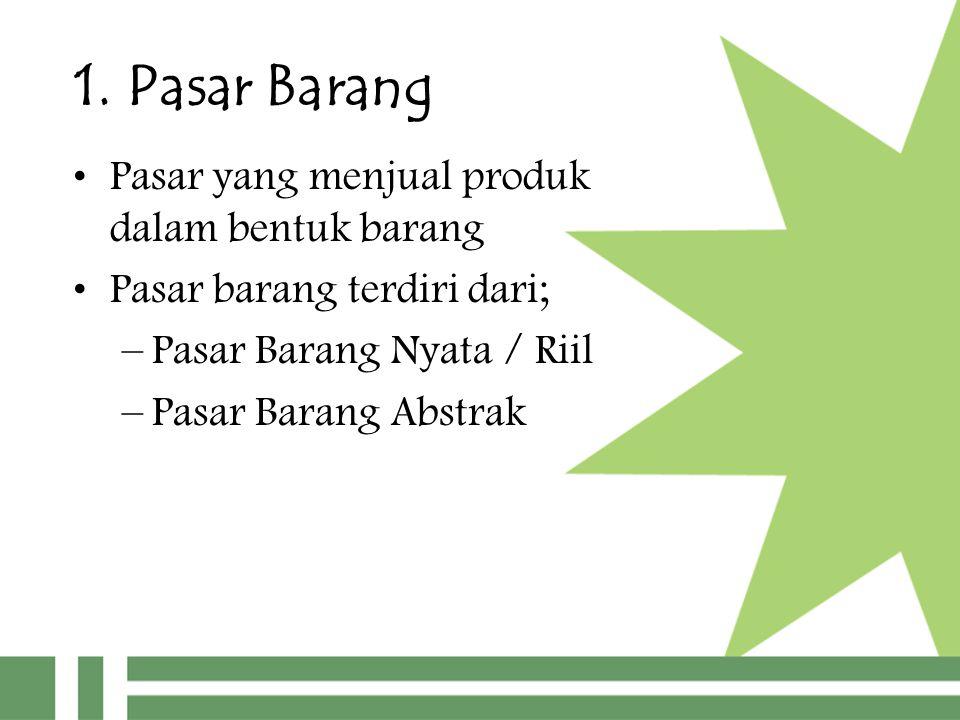 1. Pasar Barang Pasar yang menjual produk dalam bentuk barang Pasar barang terdiri dari; –Pasar Barang Nyata / Riil –Pasar Barang Abstrak