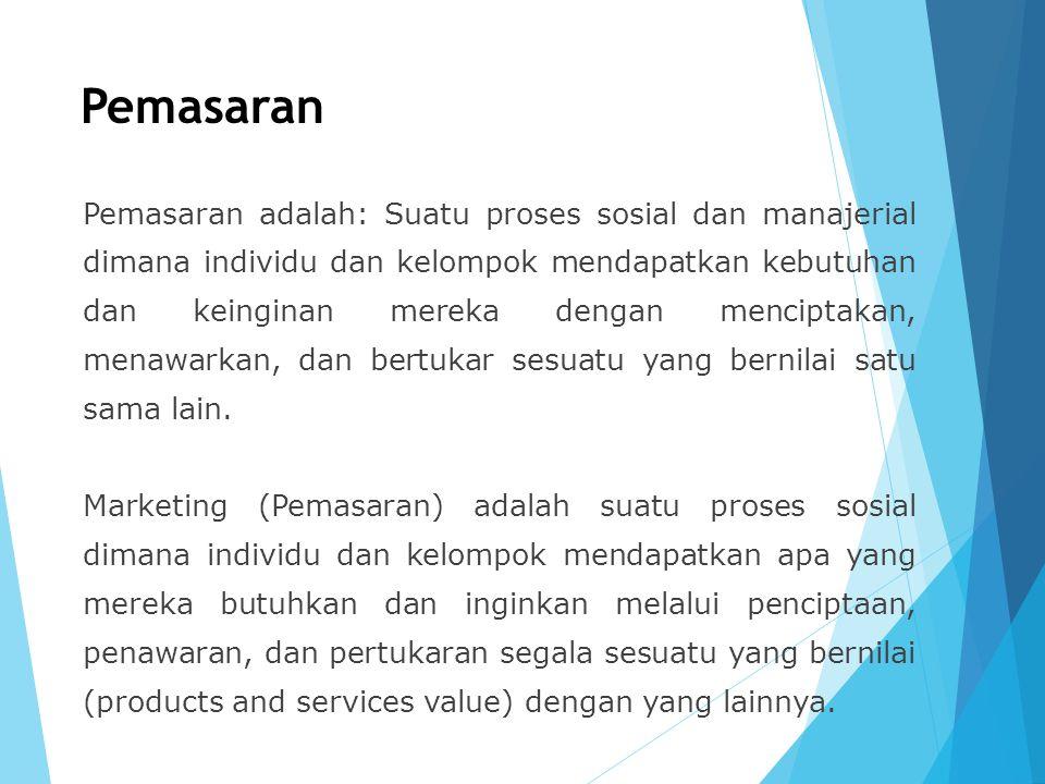 Pemasaran Pemasaran adalah: Suatu proses sosial dan manajerial dimana individu dan kelompok mendapatkan kebutuhan dan keinginan mereka dengan mencipta