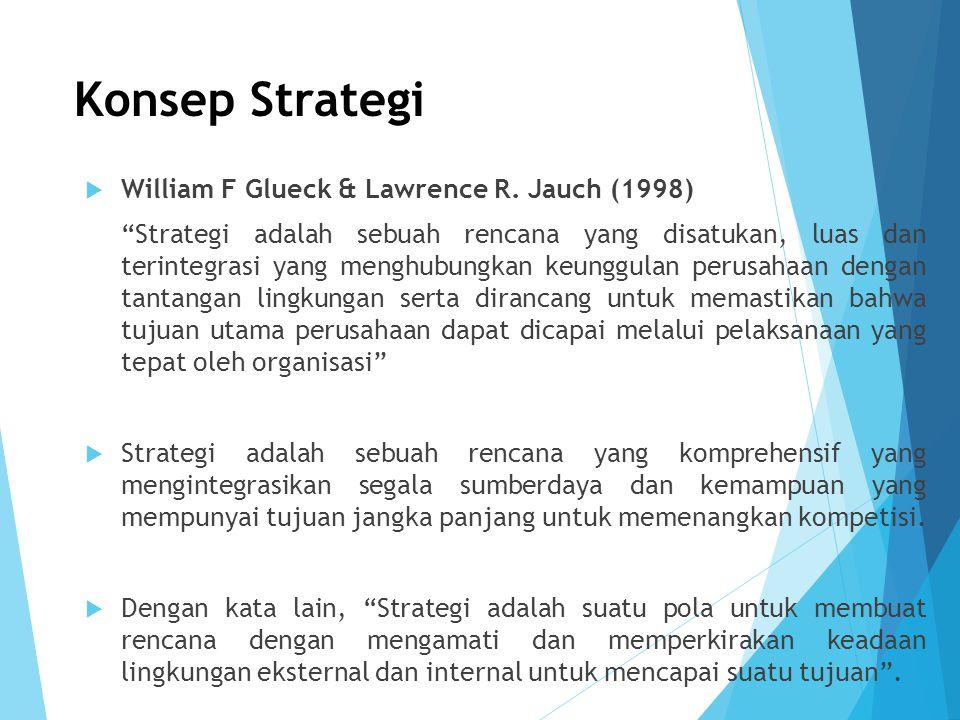 """Konsep Strategi  William F Glueck & Lawrence R. Jauch (1998) """"Strategi adalah sebuah rencana yang disatukan, luas dan terintegrasi yang menghubungkan"""