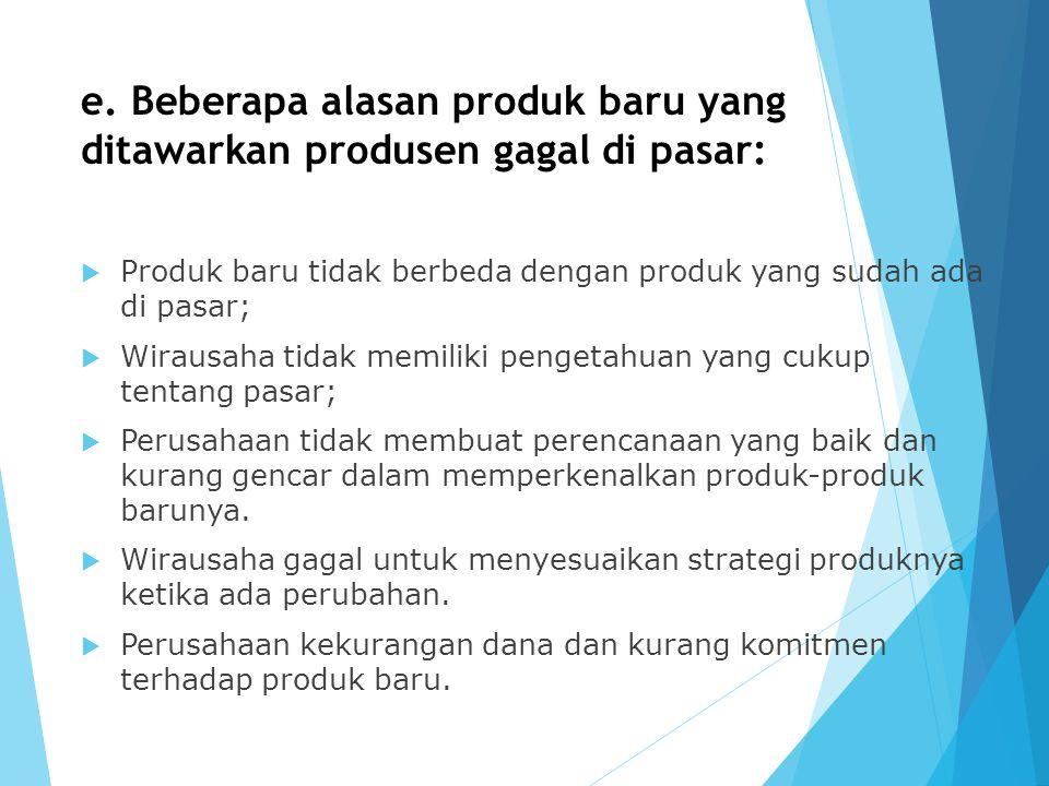 e. Beberapa alasan produk baru yang ditawarkan produsen gagal di pasar:  Produk baru tidak berbeda dengan produk yang sudah ada di pasar;  Wirausaha