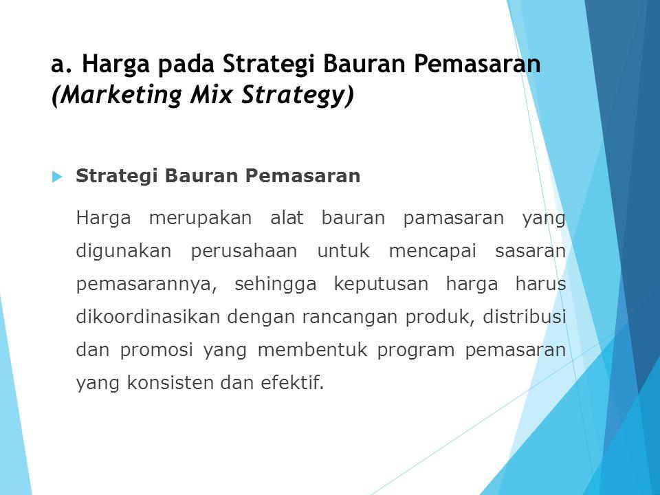 a. Harga pada Strategi Bauran Pemasaran (Marketing Mix Strategy)  Strategi Bauran Pemasaran Harga merupakan alat bauran pamasaran yang digunakan peru