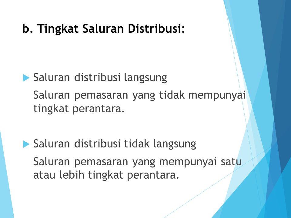 b. Tingkat Saluran Distribusi:  Saluran distribusi langsung Saluran pemasaran yang tidak mempunyai tingkat perantara.  Saluran distribusi tidak lang