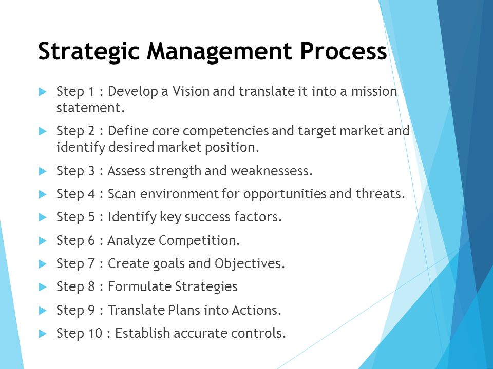 Strategic Management Process  Step 1 : Develop a Vision and translate it into a mission statement.  Step 2 : Define core competencies and target mar