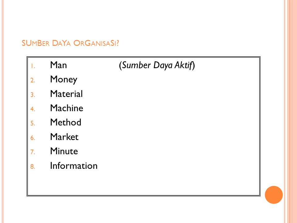 SU M B ER D A Y A O R G ANISA S I ? 1. Man (Sumber Daya Aktif) 2. Money 3. Material 4. Machine 5. Method 6. Market 7. Minute 8. Information