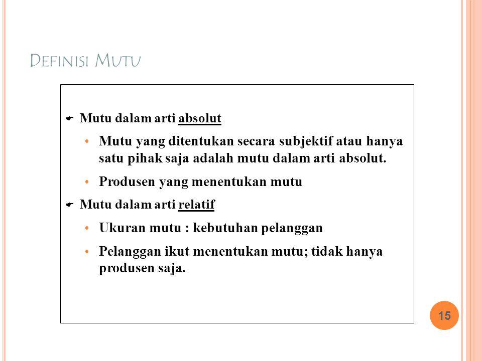 D EFINISI M UTU  Mutu dalam arti absolut  Mutu yang ditentukan secara subjektif atau hanya satu pihak saja adalah mutu dalam arti absolut.  Produse
