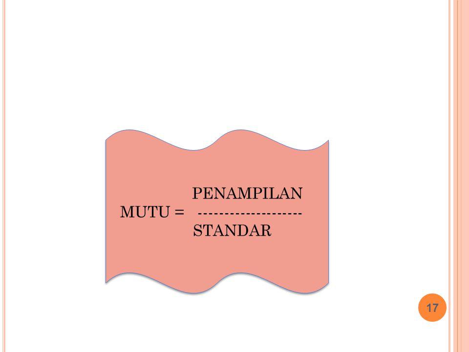 17 PENAMPILAN MUTU = -------------------- STANDAR PENAMPILAN MUTU = -------------------- STANDAR