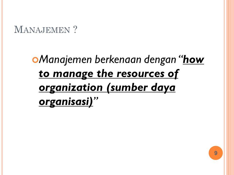 C ARA B ERPIKIR TENTANG M UTU MANAJEMEN KONVENSIONALMANAJEMEN MUTU Perbaikan mutu perlu uang dan waktuPerbaikan mutu menghemat waktu dan uang Pekerjaan adalah rangkaian peristiwaPekerjaan adalah sistem terpadu dari beberapa proses Kuantitas sama pentingnya dengan kualitasTanpa kualitas, kuantitas tiada arti Mutu berarti mencapai tujuan yang ditentukan sebelumnya (MBO) Mutu berarti perbaikan yang berkelanjutan (continuous improvement) 95% betul adalah cukup bagusHanya 100% usaha terbaik yang cukup Mutu adalah hasil dari pemeriksaan yang baikMutu menyatu dengan cara kerja dari awal Pemasok tak ada kaitannya dengan mutu kerja kitaPara pemasok adalah mitra kerja kita Pelanggan adalah orang-orang yang kita tawari produk kita Pelanggan adalah bagian integral dari organisasi kita Untuk mendapatkan mutu, diperlukan karyawan yang baik Mutu dapat dicapai melalui pelatihan yang lebih baik bagi karyawan plus kepemimpinan yang bermutu 20