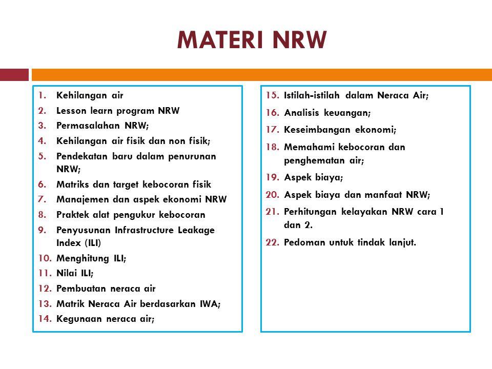 MATERI NRW 1.Kehilangan air 2.Lesson learn program NRW 3.Permasalahan NRW; 4.Kehilangan air fisik dan non fisik; 5.Pendekatan baru dalam penurunan NRW