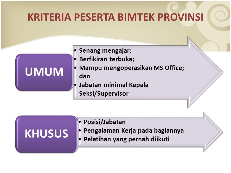 KRITERIA PESERTA BIMTEK PROVINSI Senang mengajar; Berfikiran terbuka; Mampu mengoperasikan MS Office; dan Jabatan minimal Kepala Seksi/Supervisor UMUM