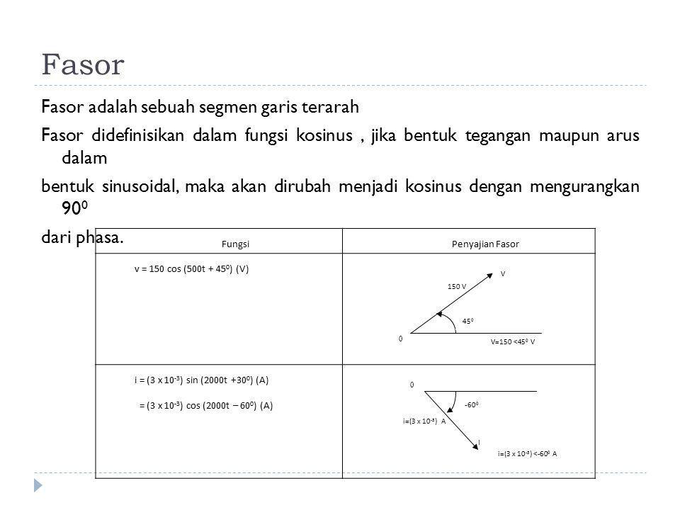 Fasor Fasor adalah sebuah segmen garis terarah Fasor didefinisikan dalam fungsi kosinus, jika bentuk tegangan maupun arus dalam bentuk sinusoidal, mak