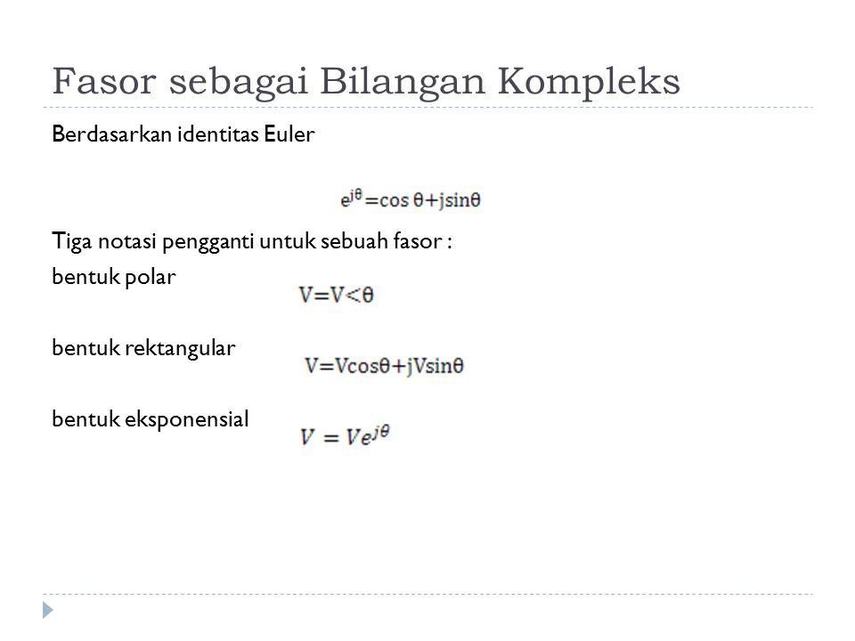 Fasor sebagai Bilangan Kompleks Berdasarkan identitas Euler Tiga notasi pengganti untuk sebuah fasor : bentuk polar bentuk rektangular bentuk eksponen
