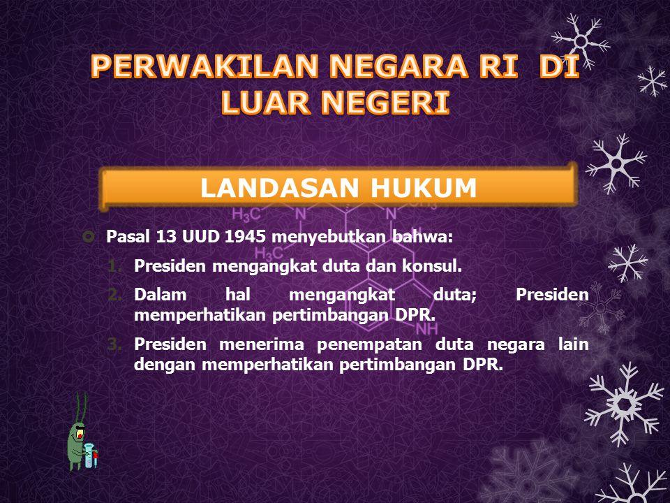  Pasal 13 UUD 1945 menyebutkan bahwa: 1.Presiden mengangkat duta dan konsul. 2.Dalam hal mengangkat duta; Presiden memperhatikan pertimbangan DPR. 3.