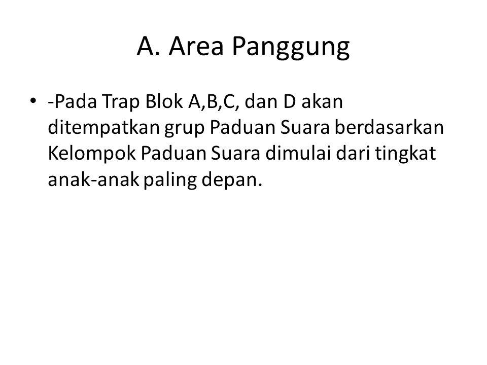 A. Area Panggung -Pada Trap Blok A,B,C, dan D akan ditempatkan grup Paduan Suara berdasarkan Kelompok Paduan Suara dimulai dari tingkat anak-anak pali