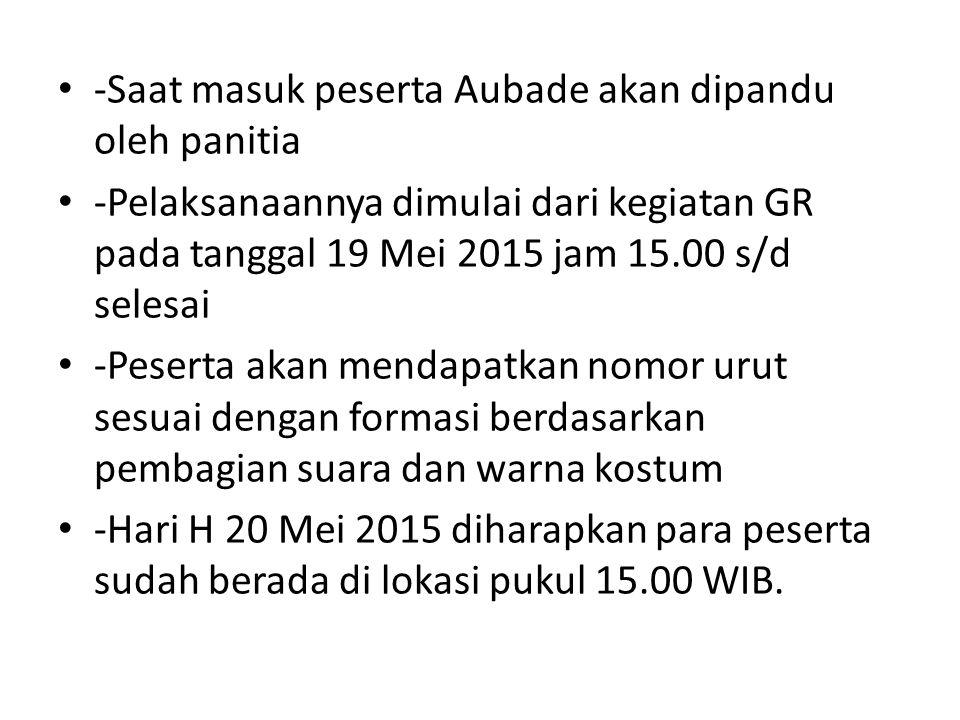 -Saat masuk peserta Aubade akan dipandu oleh panitia -Pelaksanaannya dimulai dari kegiatan GR pada tanggal 19 Mei 2015 jam 15.00 s/d selesai -Peserta