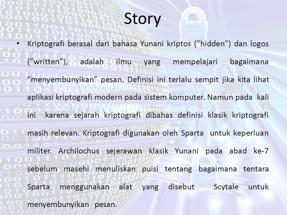 """Story Kriptografi berasal dari bahasa Yunani kriptos (""""hidden"""") dan logos (""""written""""), adalah ilmu yang mempelajari bagaimana """"menyembunyikan"""" pesan."""