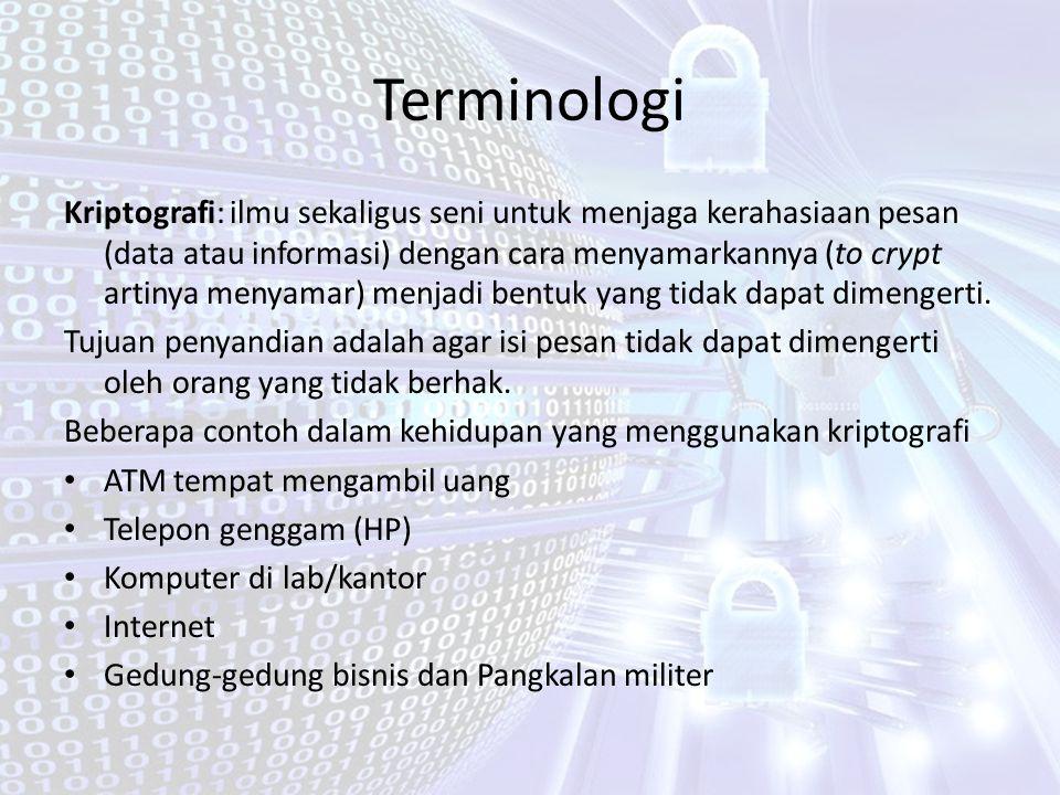Terminologi Kriptografi: ilmu sekaligus seni untuk menjaga kerahasiaan pesan (data atau informasi) dengan cara menyamarkannya (to crypt artinya menyam