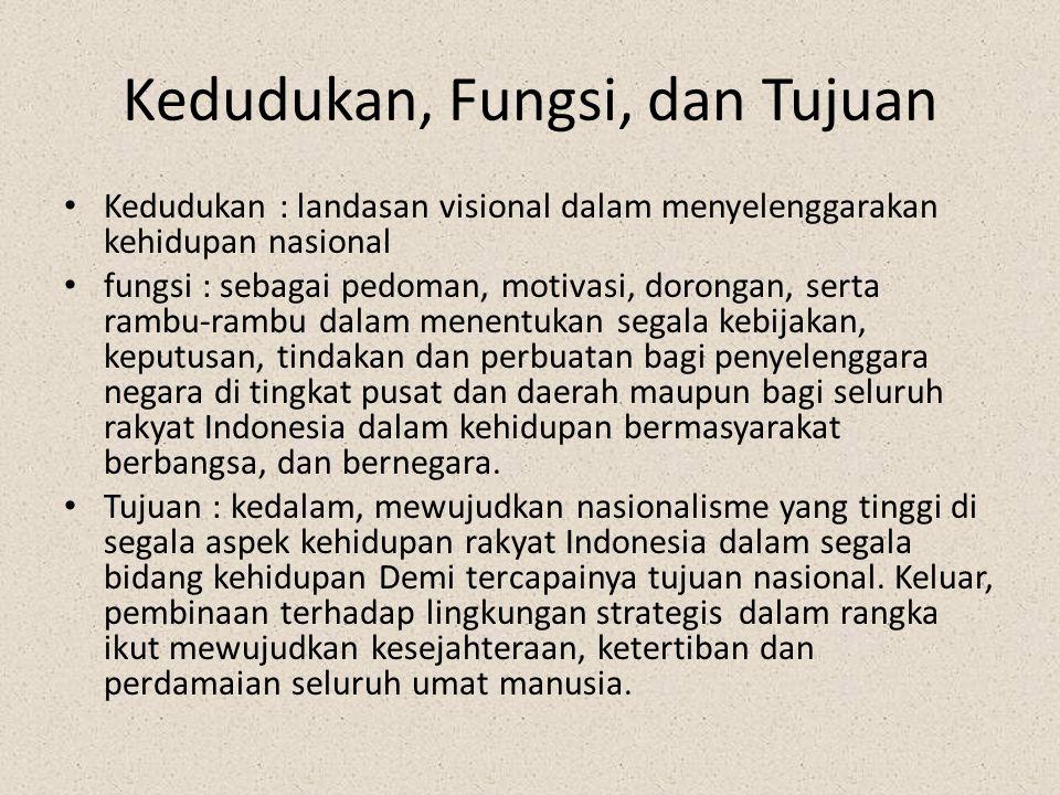 Kedudukan, Fungsi, dan Tujuan Kedudukan : landasan visional dalam menyelenggarakan kehidupan nasional fungsi : sebagai pedoman, motivasi, dorongan, se