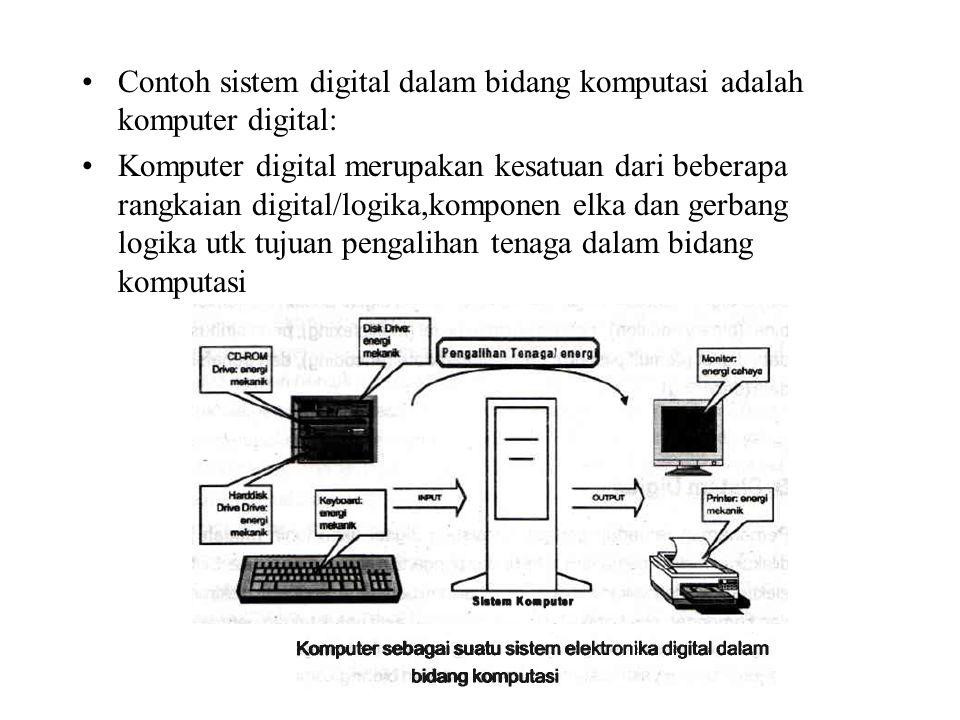 Contoh sistem digital dalam bidang komputasi adalah komputer digital: Komputer digital merupakan kesatuan dari beberapa rangkaian digital/logika,kompo