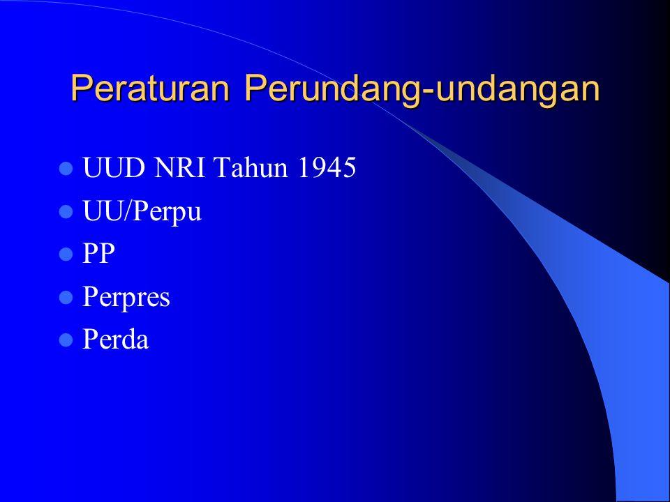 Peraturan Perundang-undangan UUD NRI Tahun 1945 UU/Perpu PP Perpres Perda
