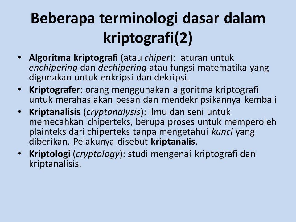 Beberapa terminologi dasar dalam kriptografi(2) Algoritma kriptografi (atau chiper): aturan untuk enchipering dan dechipering atau fungsi matematika y