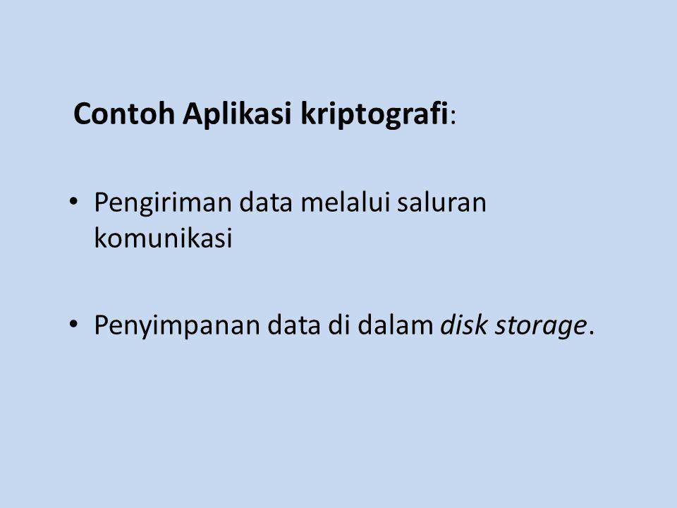 Contoh Aplikasi kriptografi : Pengiriman data melalui saluran komunikasi Penyimpanan data di dalam disk storage.