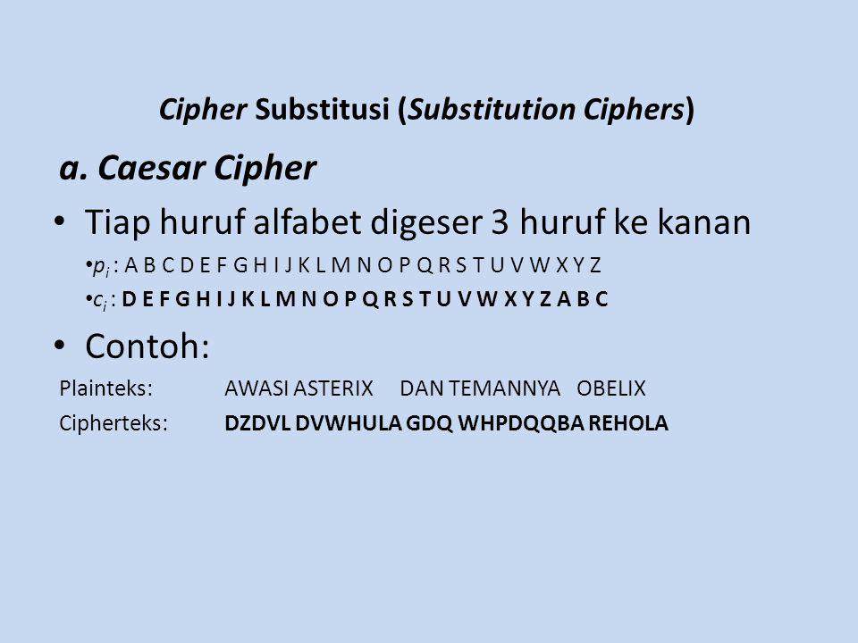 Cipher Substitusi (Substitution Ciphers) a. Caesar Cipher Tiap huruf alfabet digeser 3 huruf ke kanan p i : A B C D E F G H I J K L M N O P Q R S T U