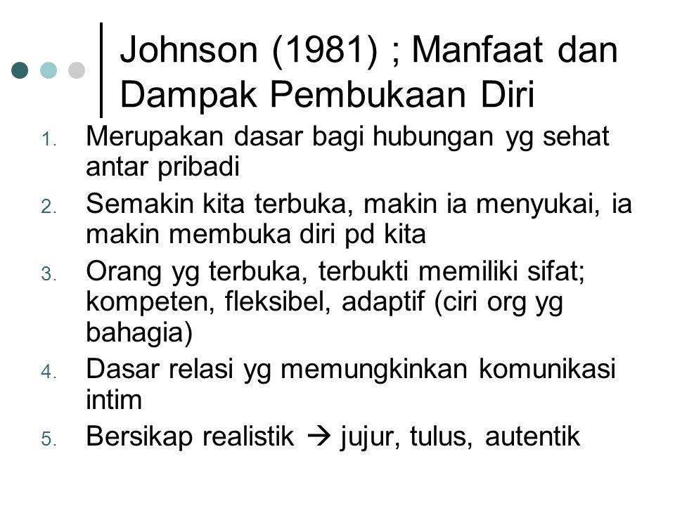 Johnson (1981) ; Manfaat dan Dampak Pembukaan Diri 1.