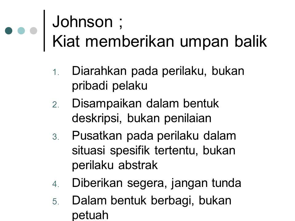 Johnson ; Kiat memberikan umpan balik 1.Diarahkan pada perilaku, bukan pribadi pelaku 2.