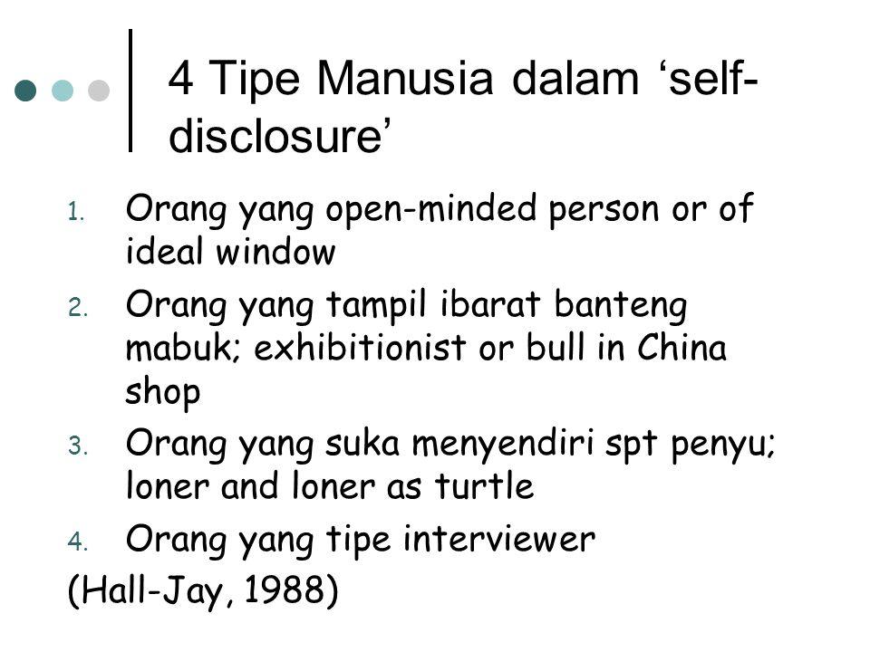 4 Tipe Manusia dalam 'self- disclosure' 1.Orang yang open-minded person or of ideal window 2.